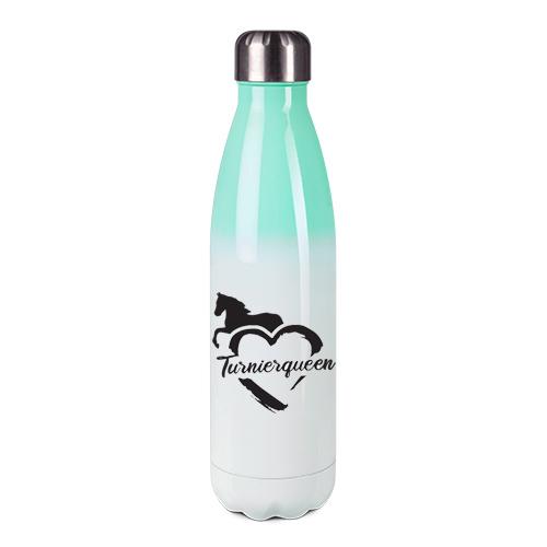 Edelstahl-Thermosflasche mint/weiß mit Druck: Turnierqueen