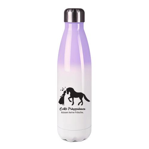 Edelstahl-Thermosflasche lila/weiß mit Druck: Prinzessinnen küssen keine Frösche