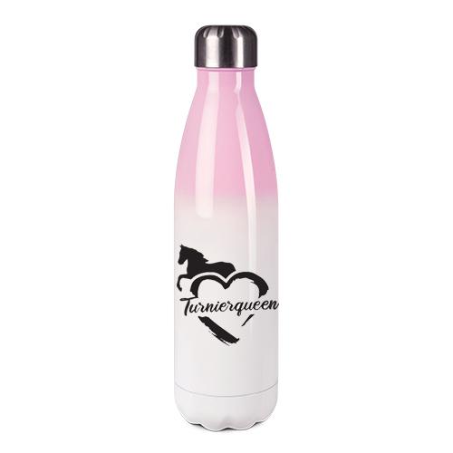 Edelstahl-Thermosflasche rosa/weiß mit Druck: Turnierqueen