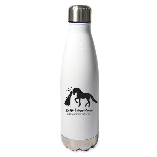 Edelstahl-Thermosflasche weiß mit Druck: Prinzessinnen küssen keine Frösche