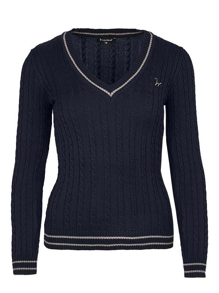 Isabell Werth - Pullover Zopf in navy-taupe