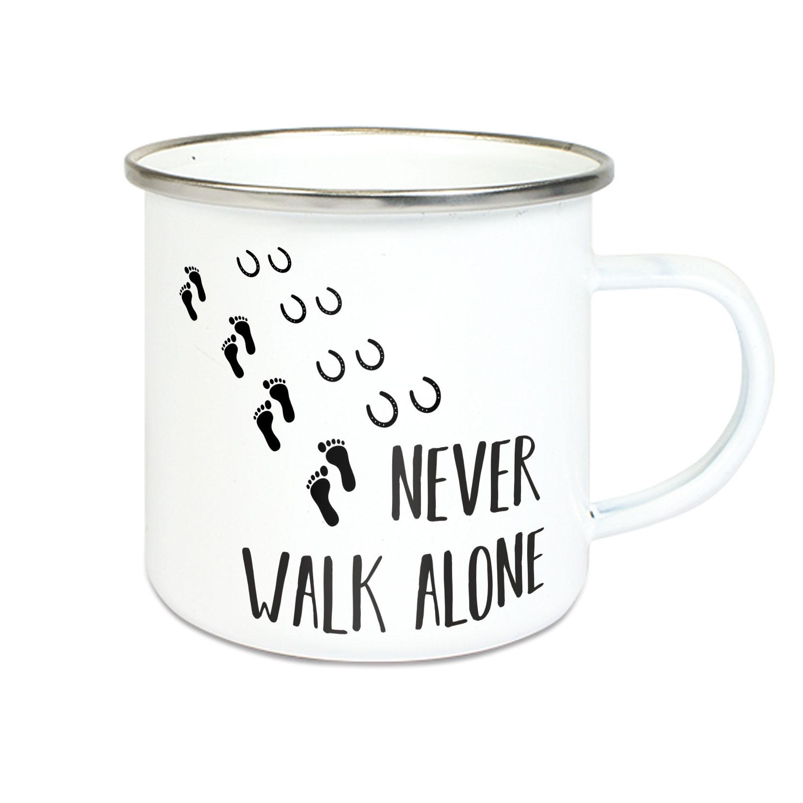 Emalie Tasse: Never walk alone mit Hufeisen Kaffeebecher Kaffeetasse bedruckt