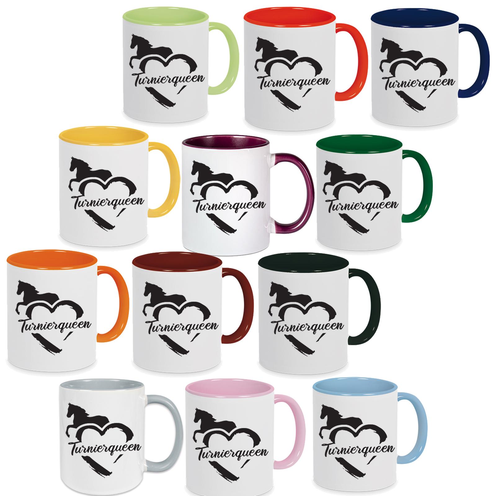 Tasse mit Spruch: Turnierqueen, Tasse, Kaffeebecher, Kaffeetasse bedruckt, Pferdetasse