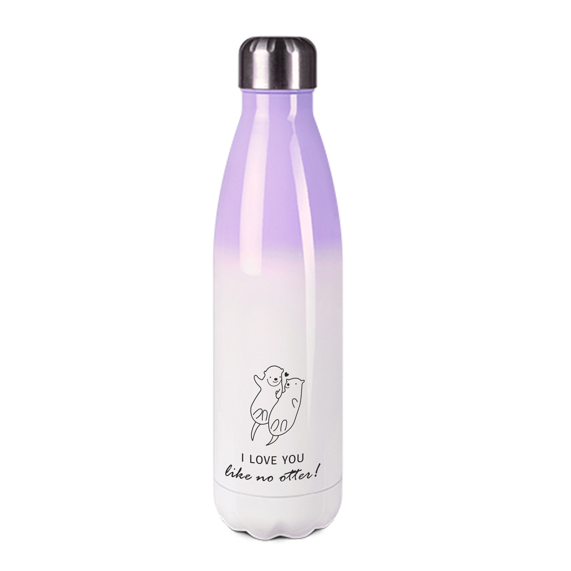 Edelstahl-Thermosflasche purple/weiß mit Druck: I LOVE YOU - DON'T LIKE OTTER