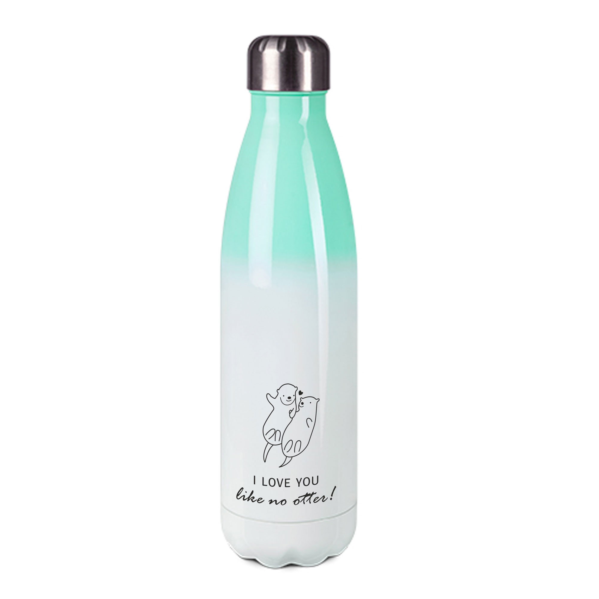 Edelstahl-Thermosflasche mint/weiß mit Druck: I LOVE YOU - DON'T LIKE OTTER