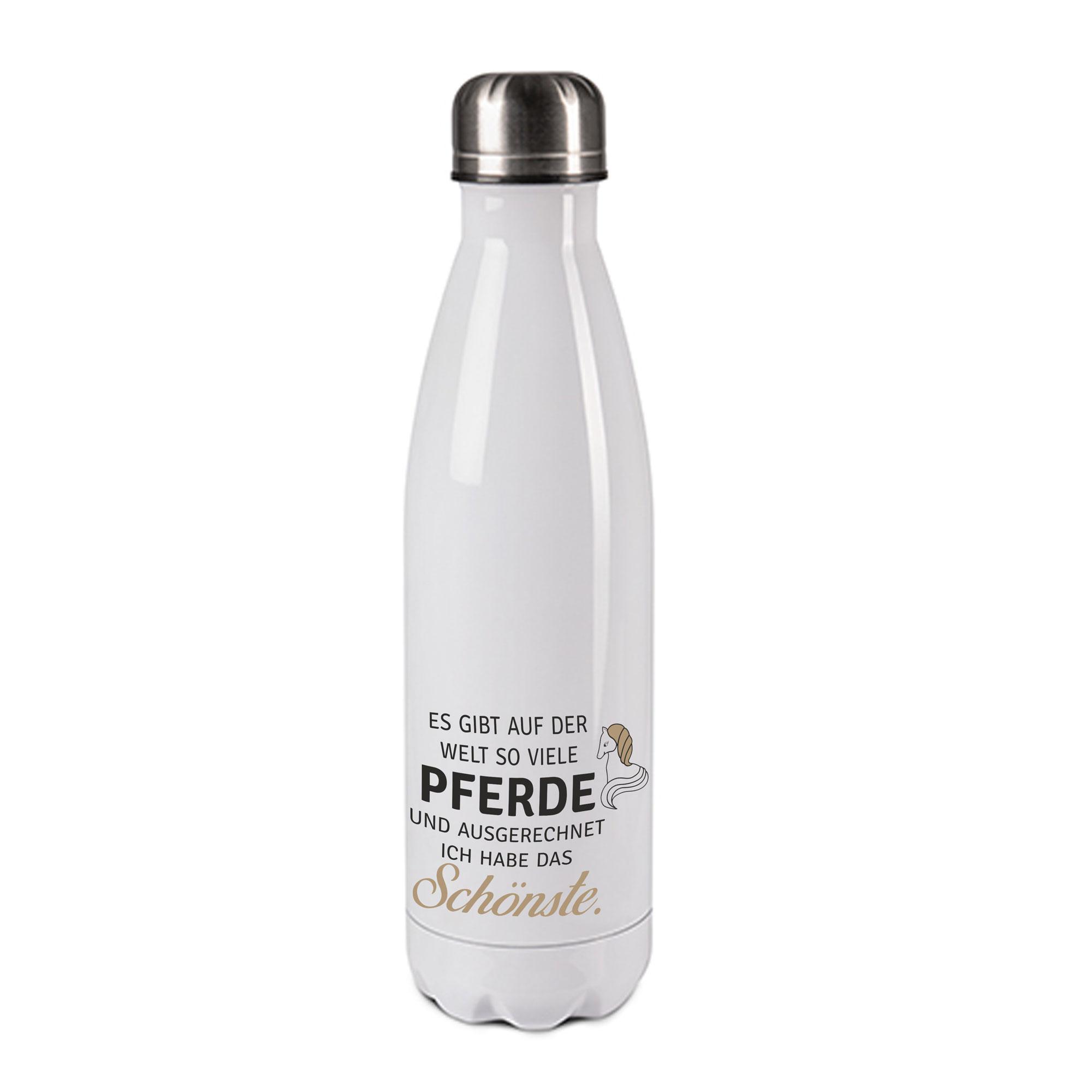 Edelstahl-Thermosflasche weiß/weiß mit Druck: ES GIBT AUF DER WELT SO VIELE PFERDE UND AUSGERECHNET ICH HABE DAS SCHÖNSTE
