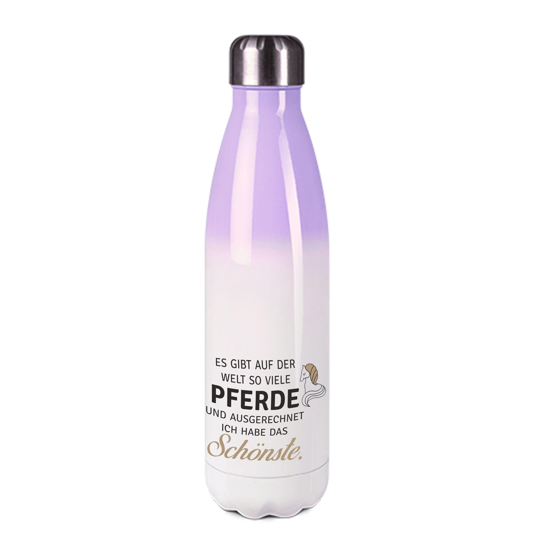 Edelstahl-Thermosflasche purple/weiß mit Druck: ES GIBT AUF DER WELT SO VIELE PFERDE UND AUSGERECHNET ICH HABE DAS SCHÖNSTE