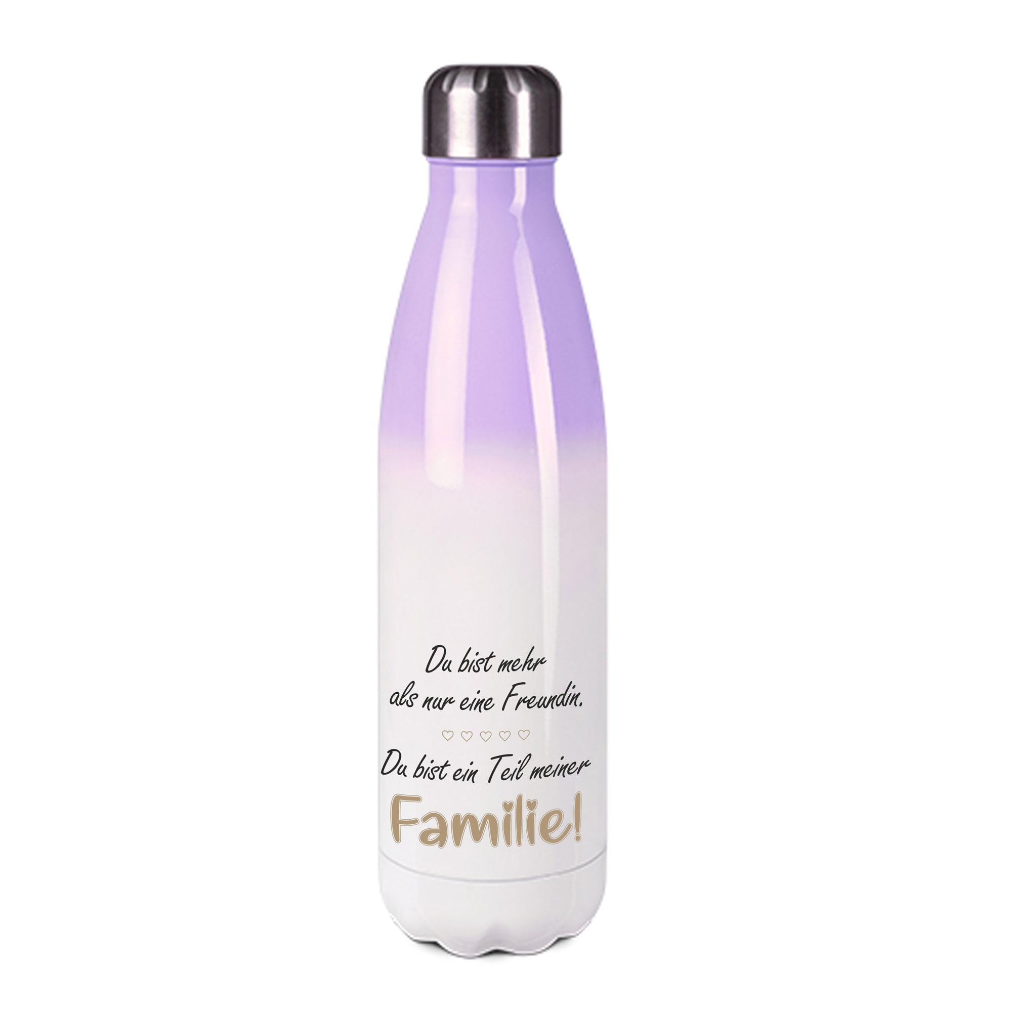 Edelstahl-Thermosflasche purple/weiß mit Druck: DU BIST MEHR ALS NUR EINE FREUNDIN DU BIST EIN TEIL MEINER FAMILIE