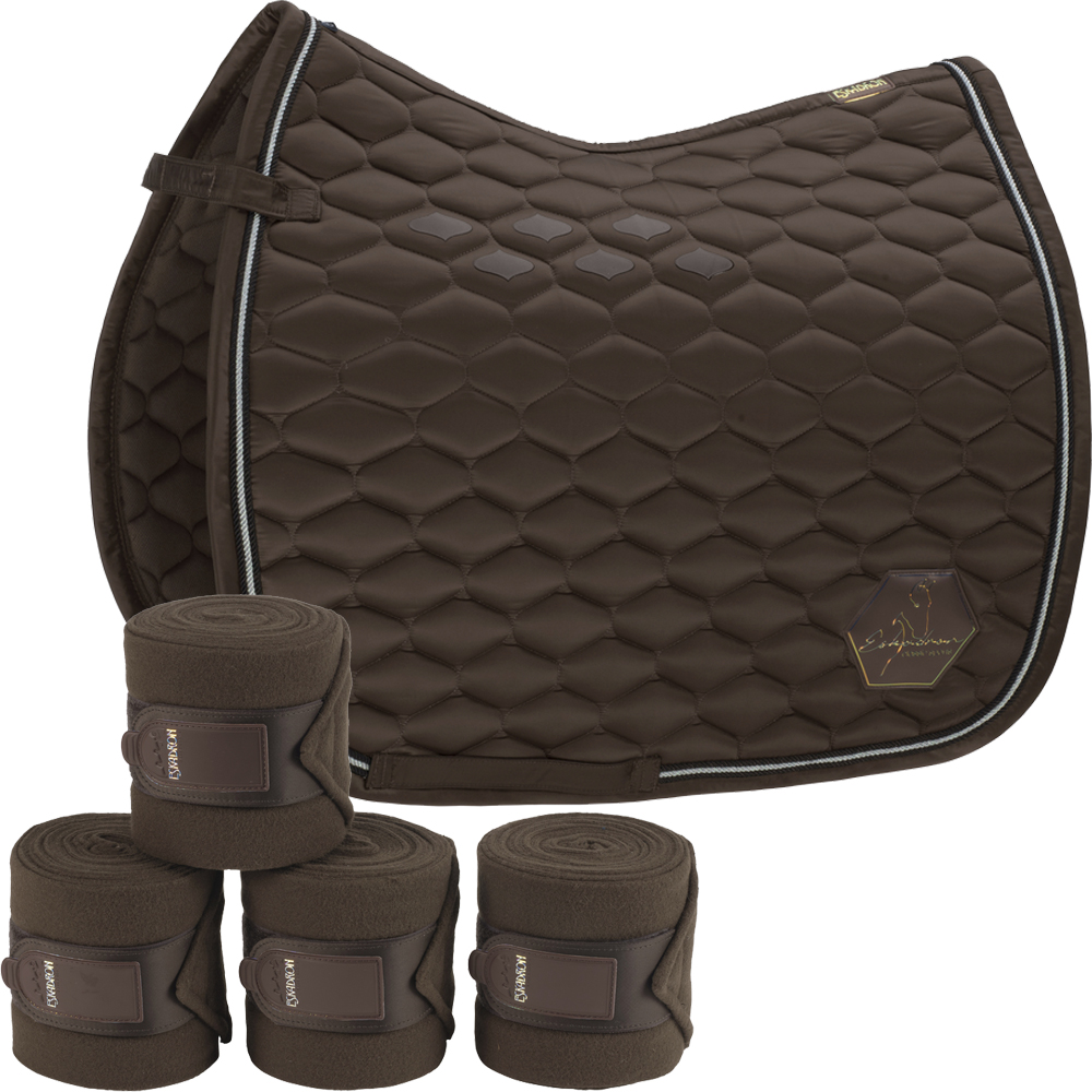Eskadron Set Glossy Emblem Schabracke & 4er Set Fleecebandagen in brown