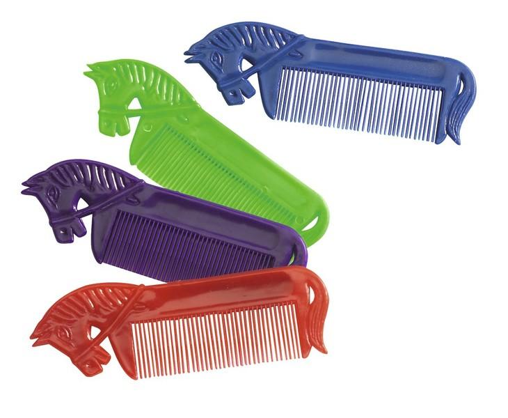 Ekkia PVC- Mähnenkamm mit Pferdekopf, Farbe rot - 4er Set