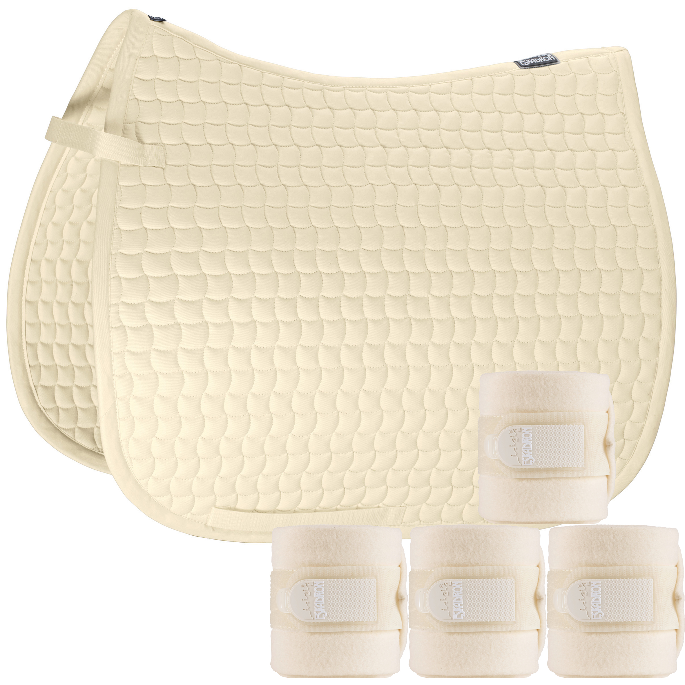 Set Eskadron Basic Cotton Schabracke mit Fleecebandagen in creme