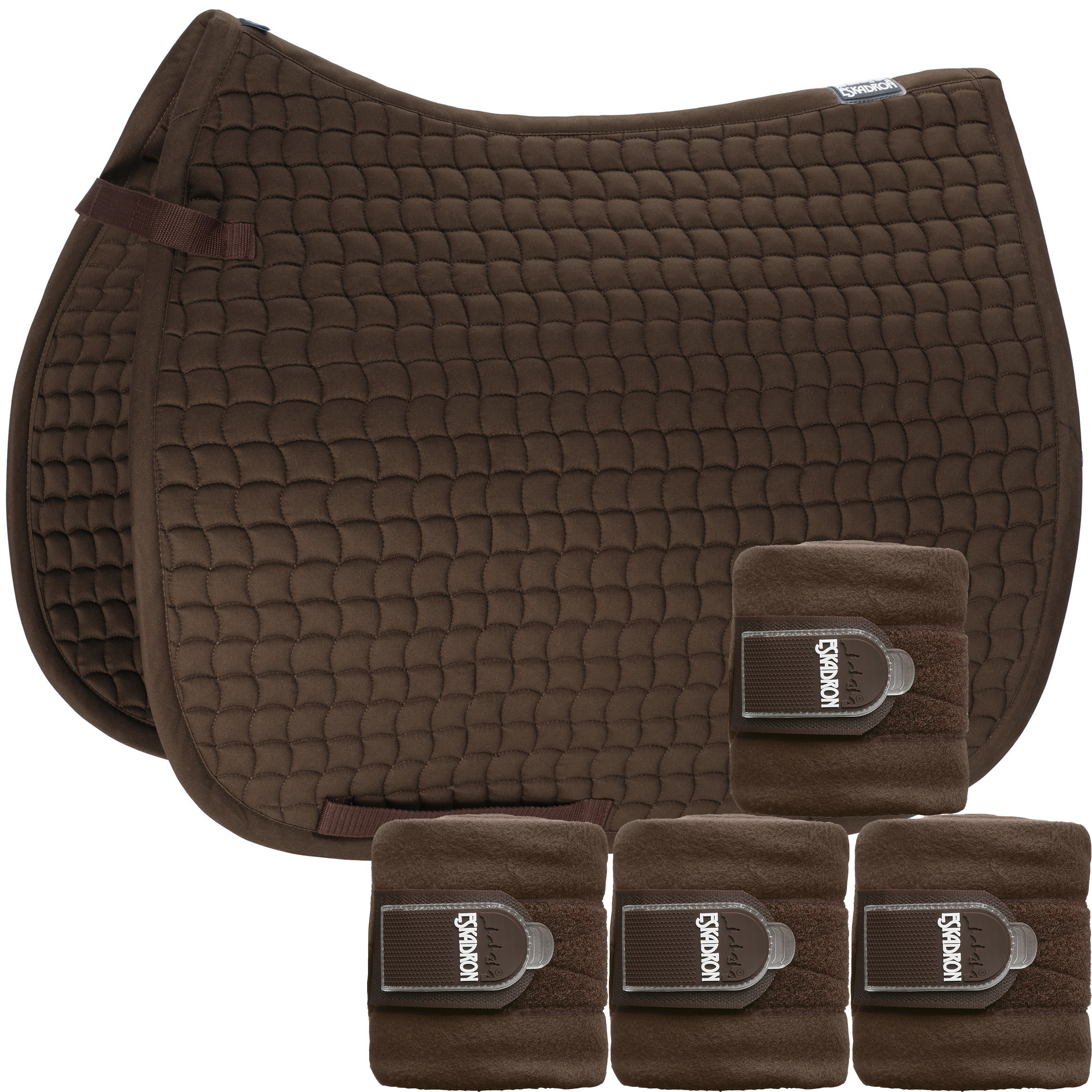 Set Eskadron Basic Cotton Schabracke mit Fleecebandagen in darkbrown