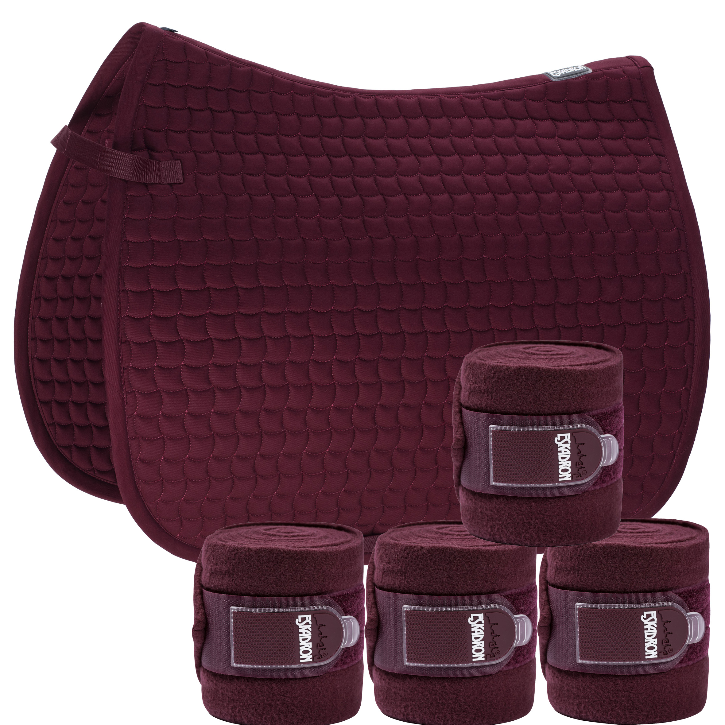 Set Eskadron Basic Cotton Schabracke mit Fleecebandagen in blackberry