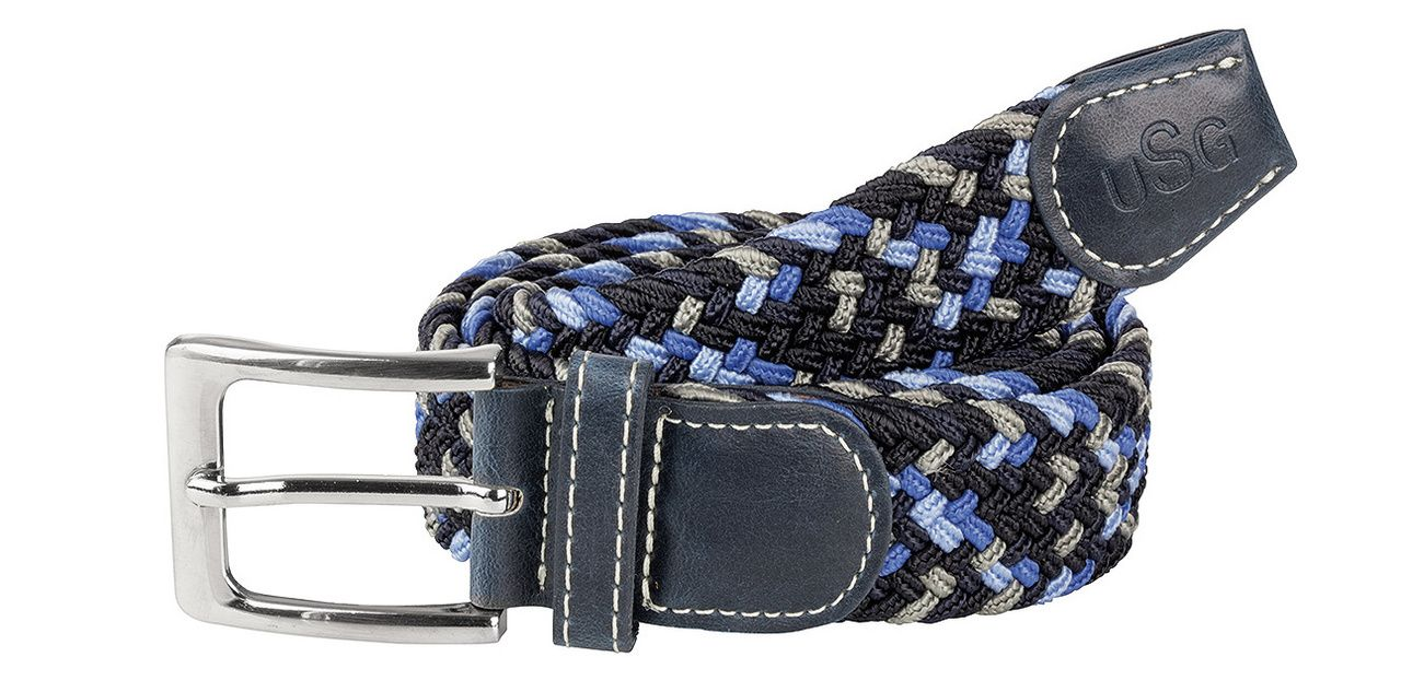 USG geflochtener Gürtel Casual in marine/grau/blau