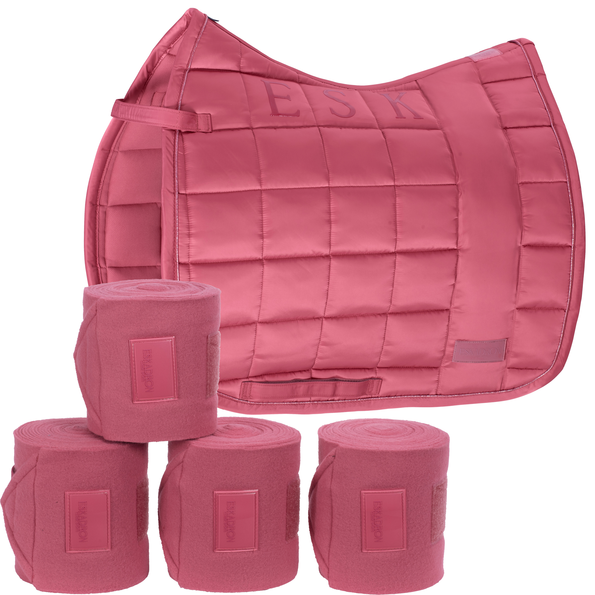 SET Eskadron Big Square Glossy Schabracke & 4er Set Fleecebandagen in rouge