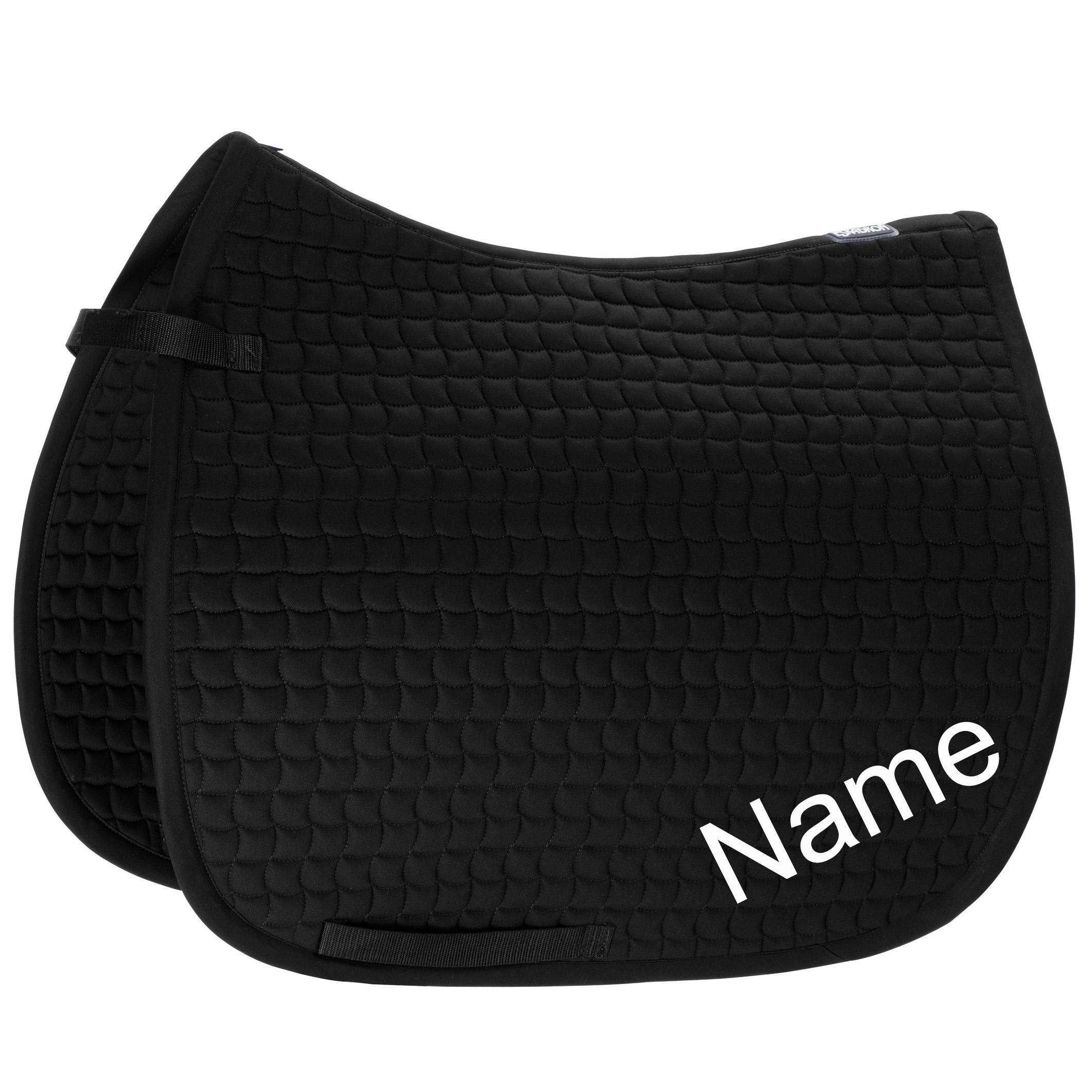 ESKADRON schwarz Cotton Dressur-Schabracke mit individuellem Namen bestickt