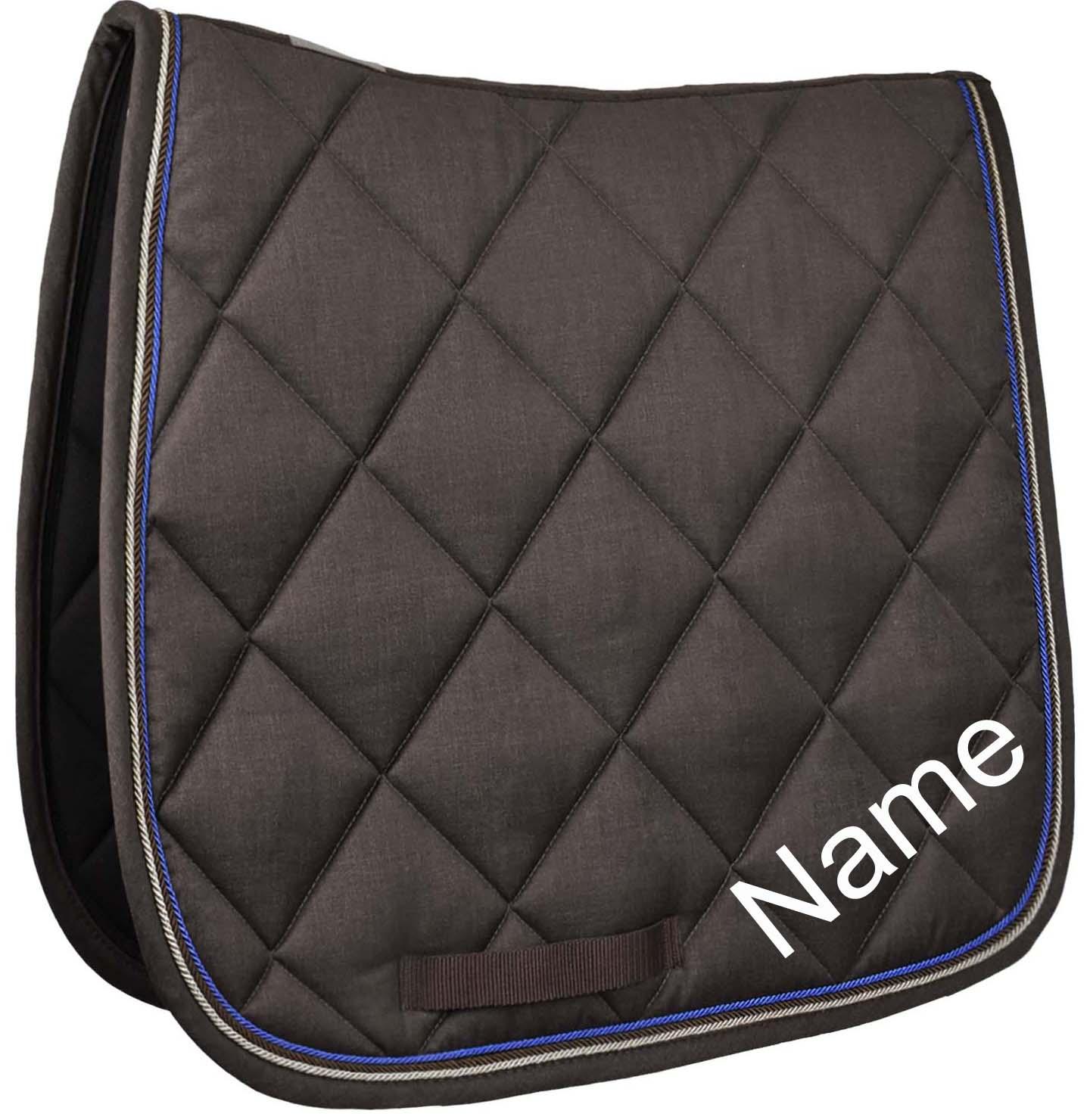 Esperado Dressur Schabracke Blazer braun/blue inkl. individuellem Namen bestickt