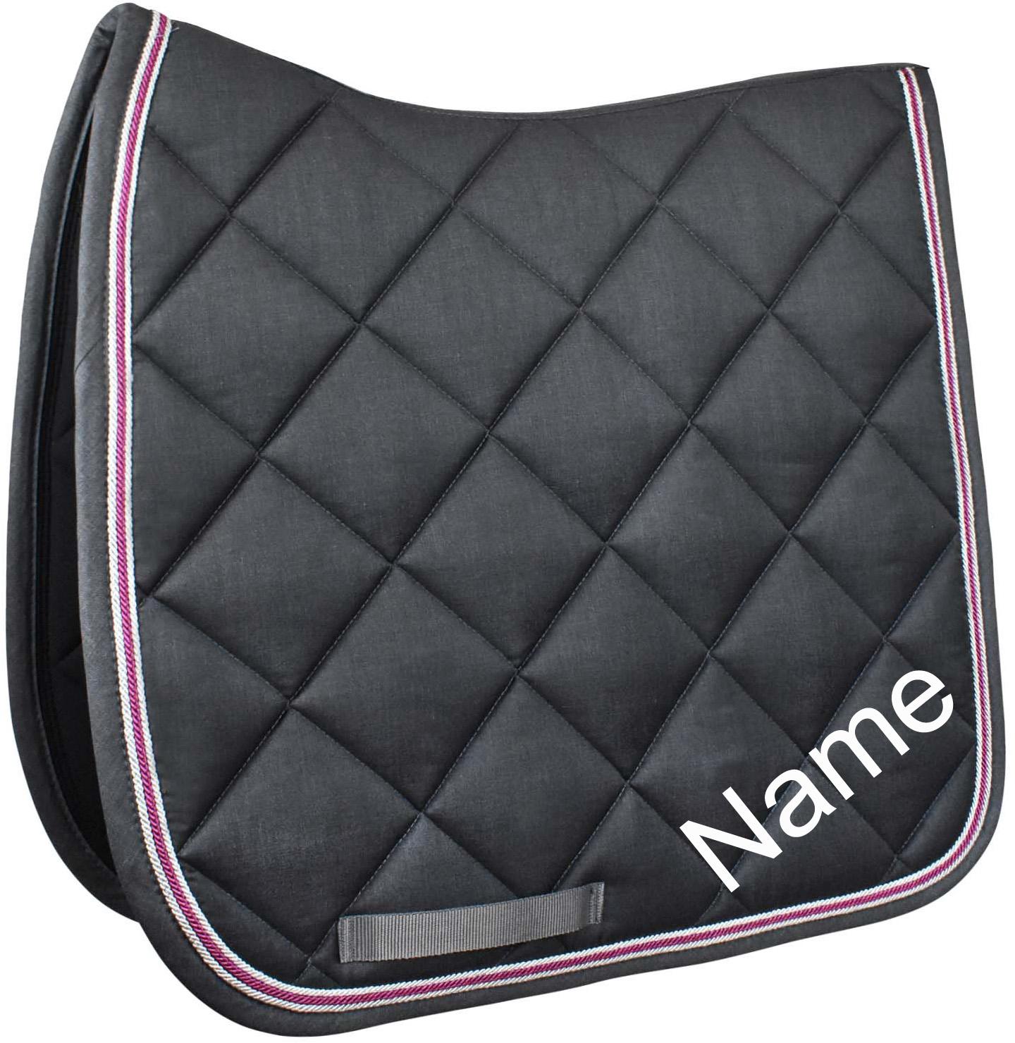 Esperado Dressur Schabracke Blazer anthrazit-melange/pink inkl. individuellem Namen bestickt