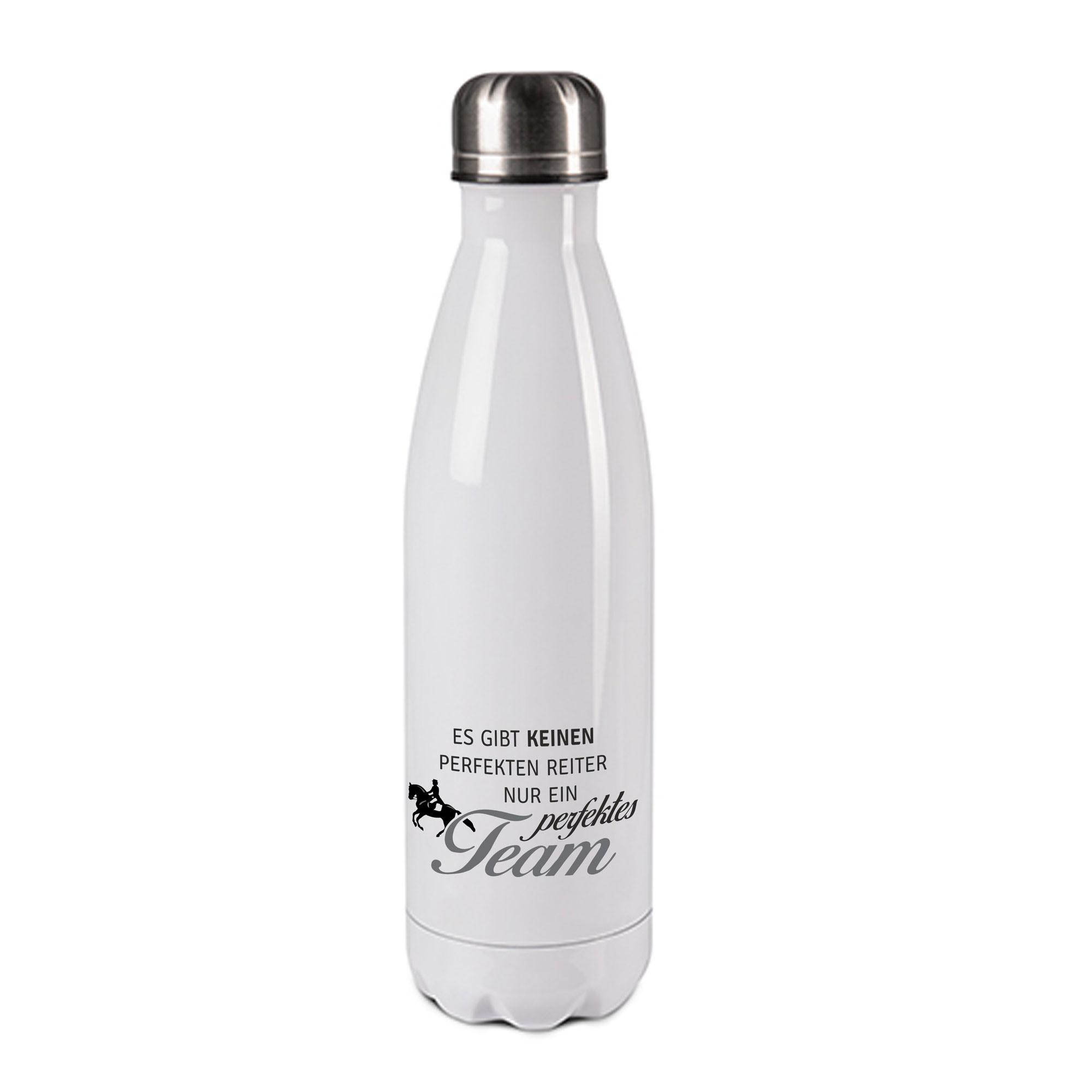 Edelstahl-Thermosflasche weiß/weiß mit Druck: ES GIBT KEINEN PERFEKTEN REITER; NUR EIN PERFEKTES TEAM