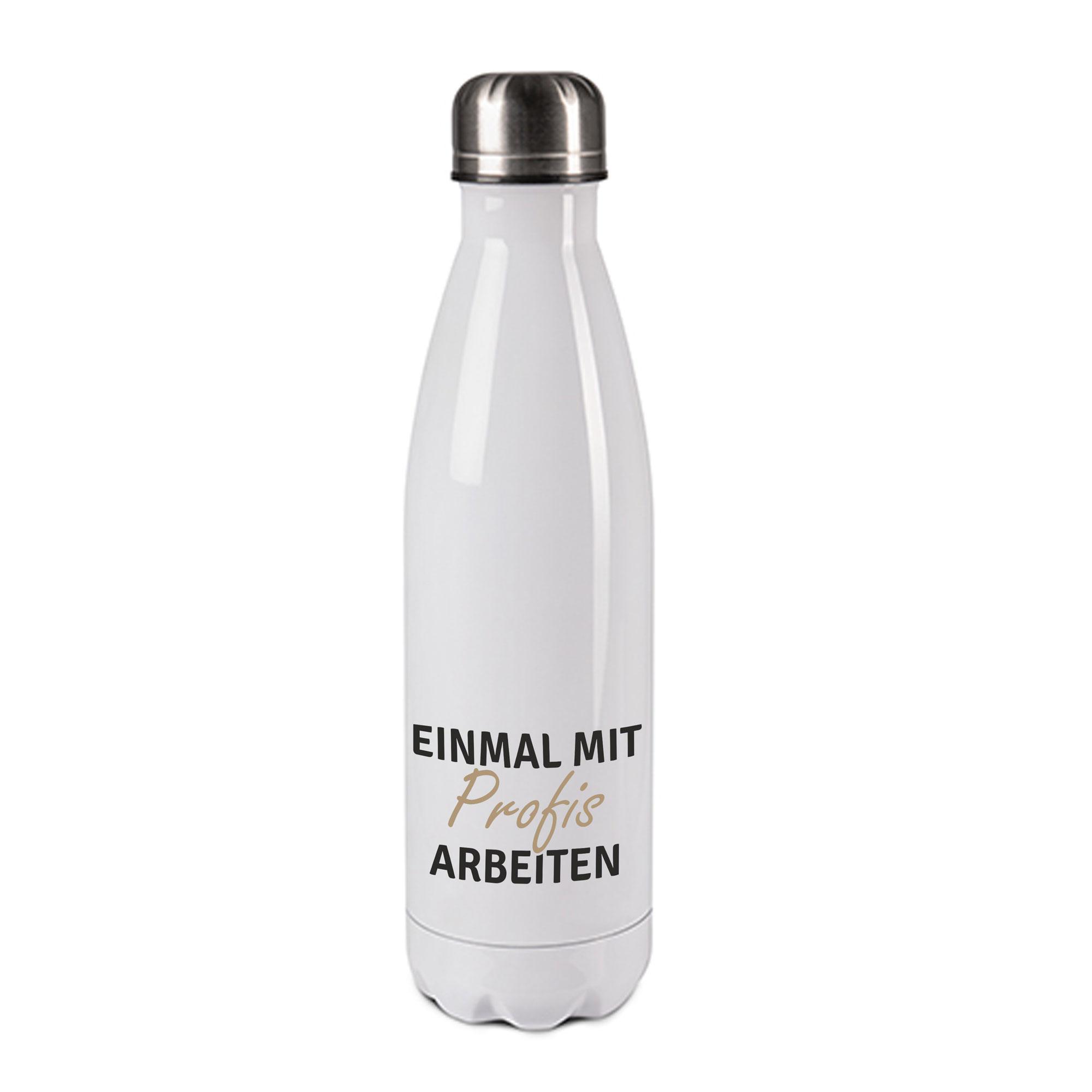 Edelstahl-Thermosflasche weiß/weiß mit Druck: EINMAL MIT PROFIS ARBEITEN