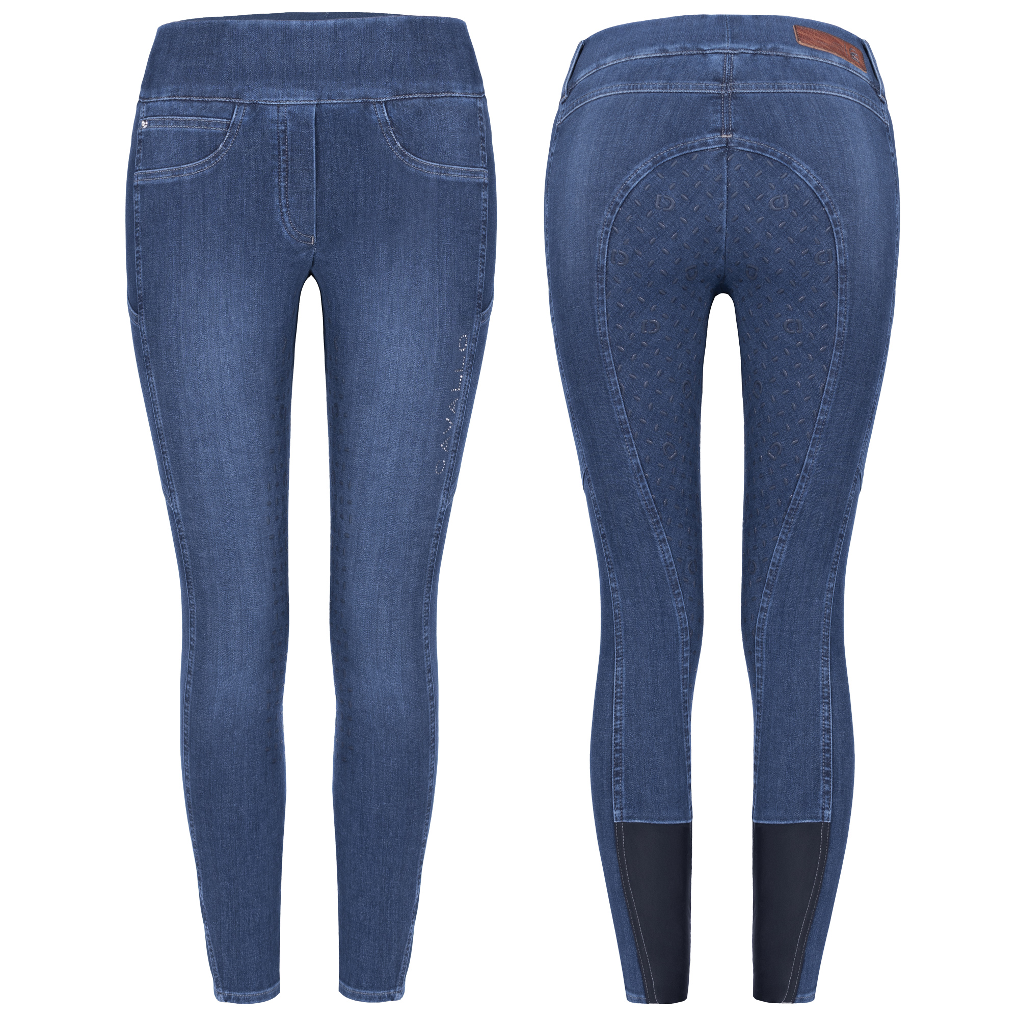 Cavallo Damenreithose Reitleggings CARLY Grip in blue washed