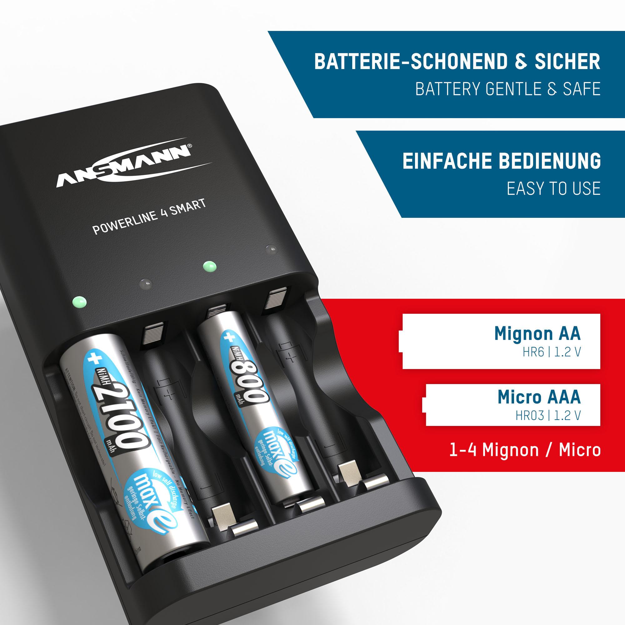 ANSMANN Akku Ladegerät für 1-4x AA/AAA Akkus NiMH Batterieladegerät Repair-Modus
