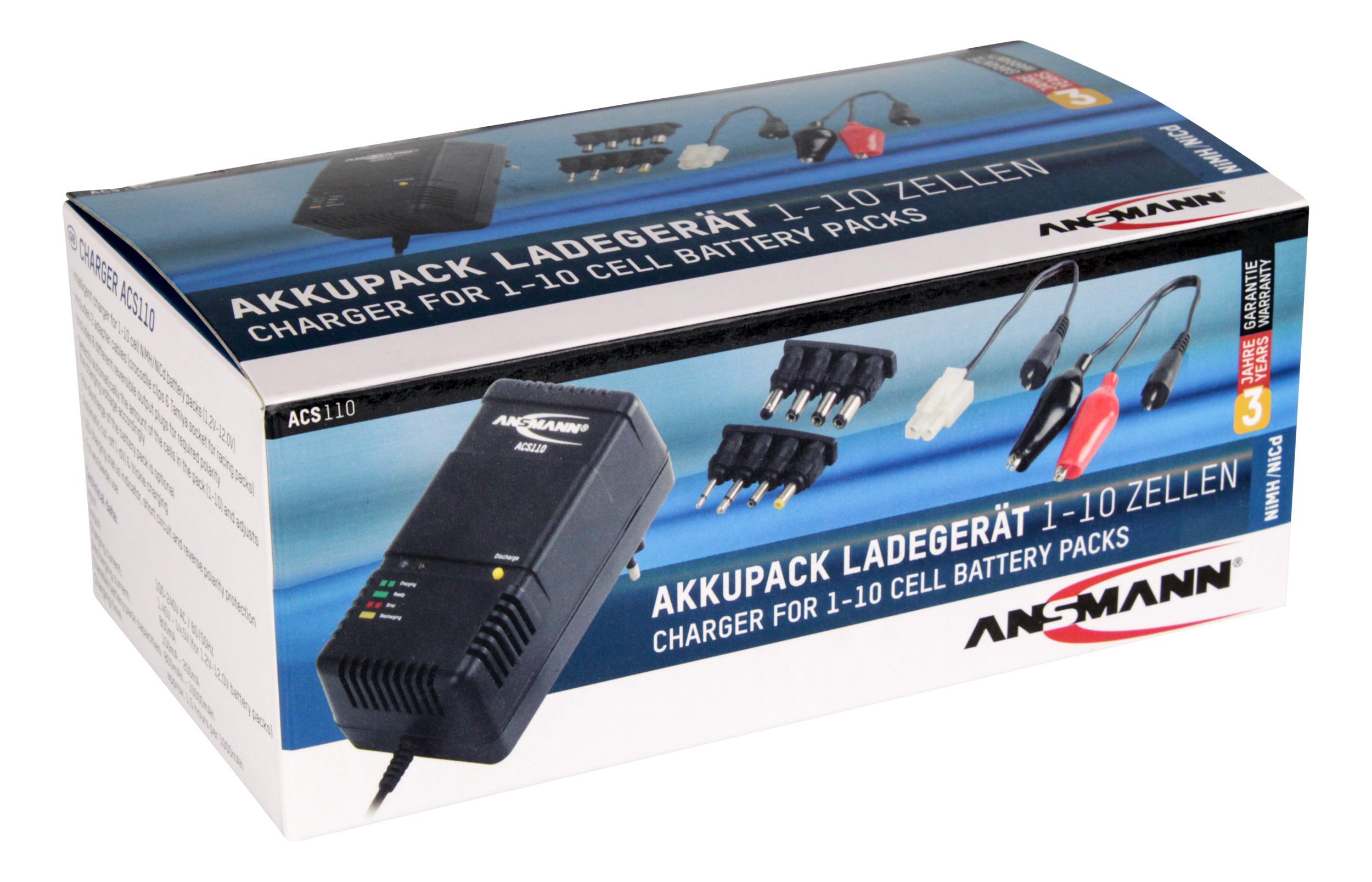 ANSMANN 1001-0023 ACS110 Ladegerät für 1-10 zellige NiMH/NiCd Akkupacks 1,2V-12V
