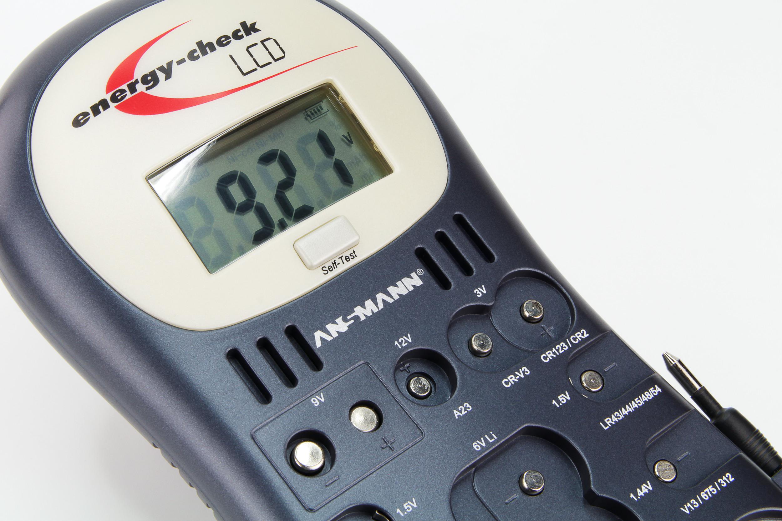 ANSMANN Testgerät Energy Check LCD Akku Knopfzelle Batterie Tester 4000392