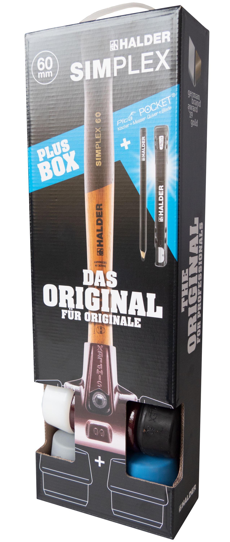 Halder 3113.040 SIMPLEX-Schonhammer mit Aluminiumgeh/äuse und Holzstiel /Ø 40 Soft//TPE-mid