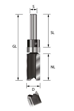 ENT Bündigfräser HW S8x32 Z2 D16x25 mm GL62 mm mit Kugellager am Schaft  – Bild 1