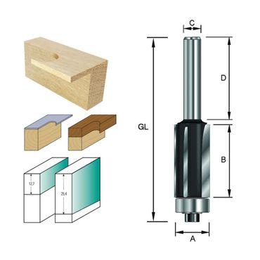 ENT Bündigfräser HW (HM), Schaft (C) 8 mm, Durchmesser (A) 12,7 mm, B 12,7 mm, Z3, D 32 mm, GL 55 mm, mit Kugellager – Bild 1