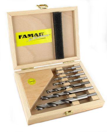 Famag Holzspiralbohrer-Bitsatz lang 7-teilig. Ø 3, 4 ,5 ,6, 8, 10 und 12mm im Holzkasten