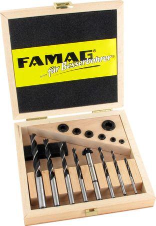 FAMAG 15-teil. Holzbohrer-Satz Holzspiralbohrer-Set mit Tiefenanschlag