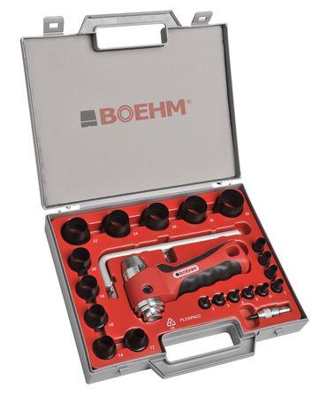 BOEHM JBL230PACC Locheisensatz 2-30mm inkl. Halter, federnder Zentrierspitze, Stange mit Zirkel & Ersatzmesser im Kunststoffkoffer