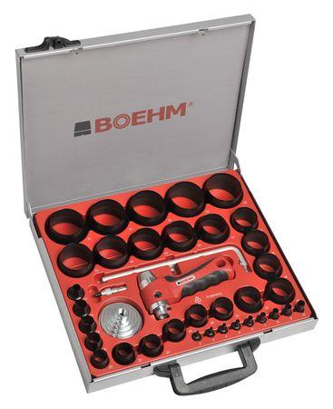 BOEHM JBL260PACC Locheisensatz 2-60mm inkl. Halter, Aufnahmescheibe, federnder Zentrierspitze, Stange mit Zirkel & Ersatzmesser im Metallkoffer