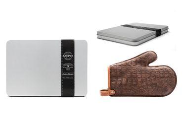 Xapron Grillhandschuh, Büffelleder mit Kroko-Print, Braun – Bild 1