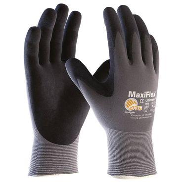 12 Paar ATG®  Nylon Handschuhe MaxiFlex® Ultimate grau/schwarz  Gr. 8 – Bild 1