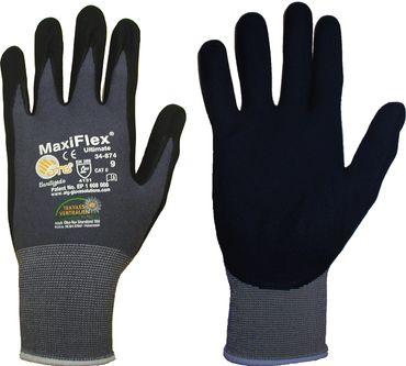 10 Paar ATG®  Nylon Handschuhe MaxiFlex® Ultimate grau/schwarz  Gr. 11 – Bild 3
