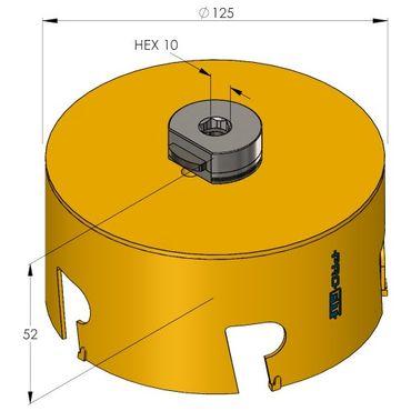 PRO-FIT Multi-Purpose-Lochsäge Ø125mm mit 50mm Nutzlänge - ohne Zentrierbohrer - mit Click&Drill Aufnahme – Bild 2