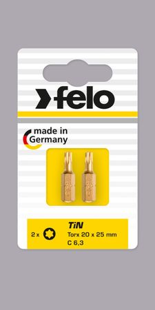 Felo Bit, TiN C 6,3 x 25mm, 2 Stk auf Karte 2 x    Tx 15