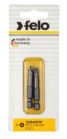 Felo Bit, Industrie E 6,3 x 73mm, 2 Stk auf Karte 2x    PZ 2