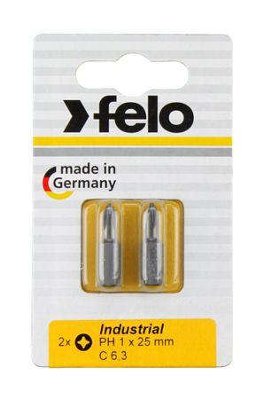 Felo Bit, Industrie C 6,3 x 25mm, 2 Stk auf Karte 2x     PH 1