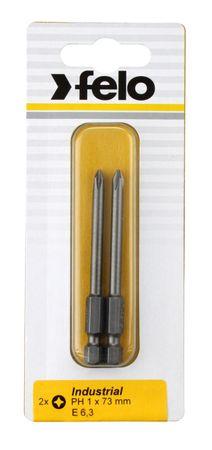 Felo Bit, Industrie E 6,3 x 50mm, 2 Stk auf Karte 2x    PH 1