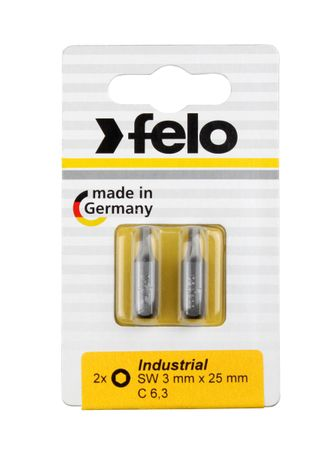 Felo Bit, Industrie C 6,3 x 25mm, 2 Stk auf Karte 2x    2,0mm