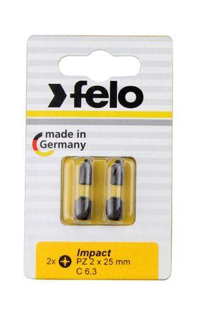 Felo Bit, Impact C 6,3 x 25 mm, 2 Stk auf Karte 2x  PZ2