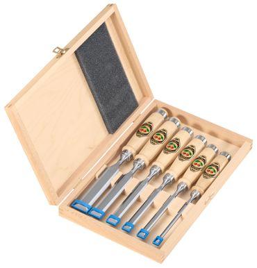 Kirschen 6-teiliger Stechbeitelsatz 1001 mit Weißbuchenheft im Holzkasten bestehend aus 6+10+12+16+20+26mm