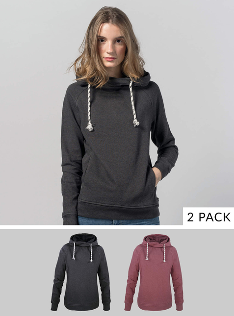 2-Pack Women's Hoodie red/anthracite