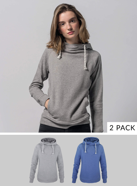 2-Pack Women's Hoodie light grey/blue