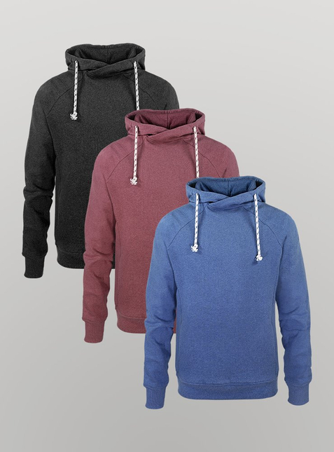 3-Pack Men's Hoodie anthracite/blue/red
