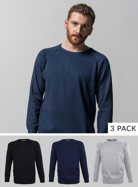 3-Pack Men's Knit Pullover grey-melange/blue/black